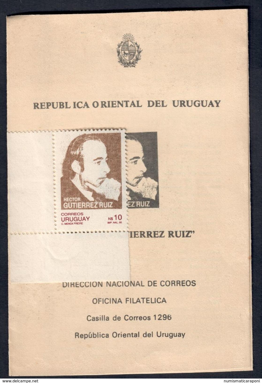 Uruguay Hector Gutierrez Ruiz Libretto Con Francobollo 1986 C.035 - Uruguay