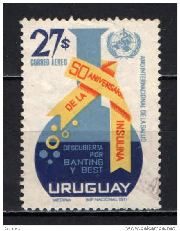 URUGUAY - 1971 - 50° ANNIVERSARIO DELLA SCOPERTA DELL'INSULINA - USATO - Uruguay