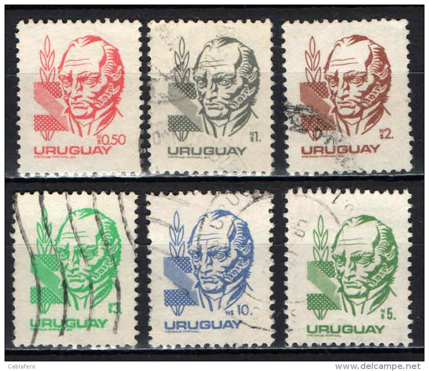 URUGUAY - 1980 - EFFIGIE DI ARTIGAS - USATI - Uruguay