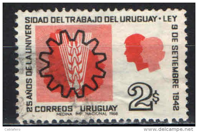 URUGUAY - 1969 - 25° ANNIVERSARIO DELL'UNIVERSITA' DEL LAVORO - USATO - Uruguay
