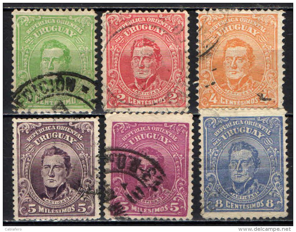 URUGUAY - 1912 - EFFIGIE DI ARTIGAS - SECONDA SERIE - USATI - Uruguay