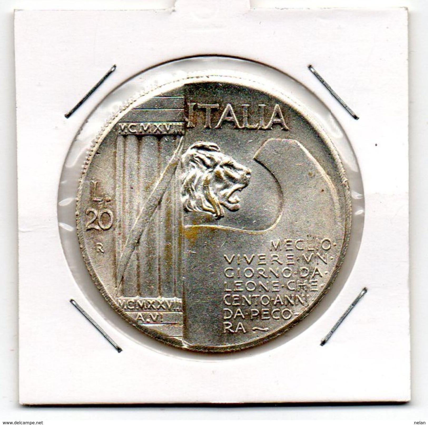 MEDAGLIA NUMISMATICA -MUSSOLINI-20 LIRE - Monétaires/De Nécessité