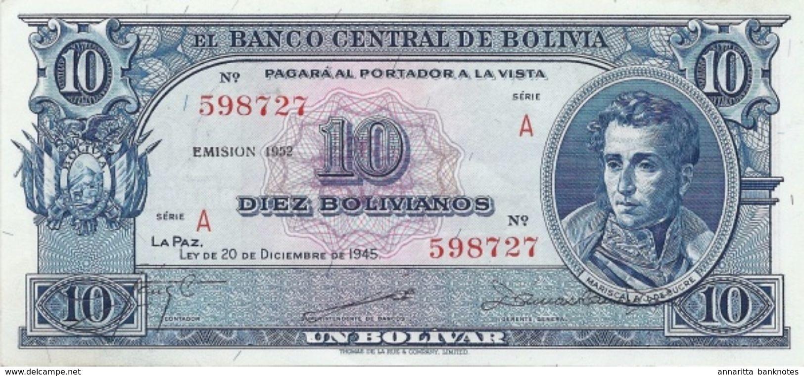 BOLIVIA 10 BOLIVIANOS 1952 P-139b XF SERIES A [BO139b] - Bolivia