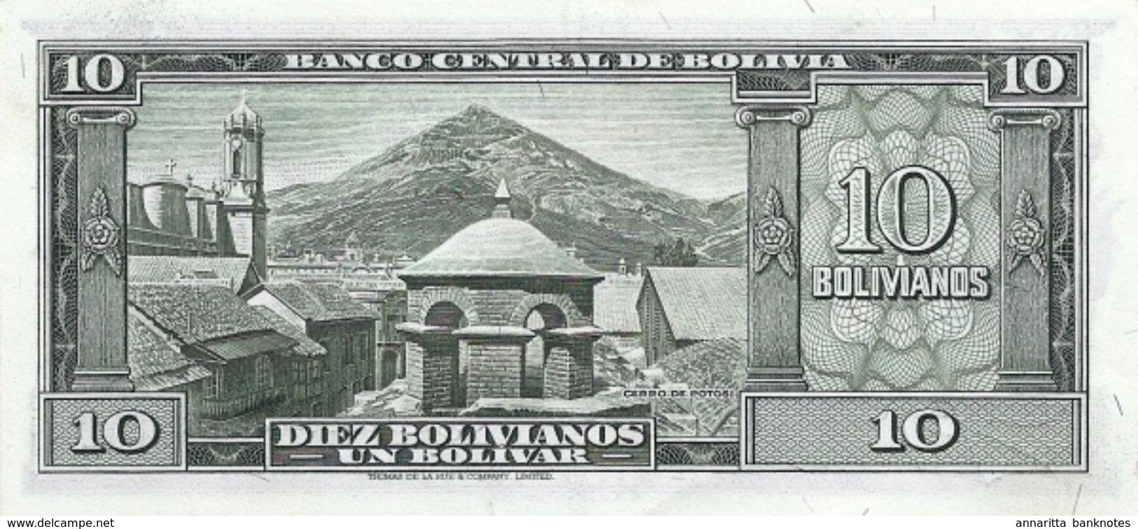 Bolivia (BCB) 10 Bolivianos L. 1945 (1952) UNC Cat No. P-139a / BO328b - Bolivia