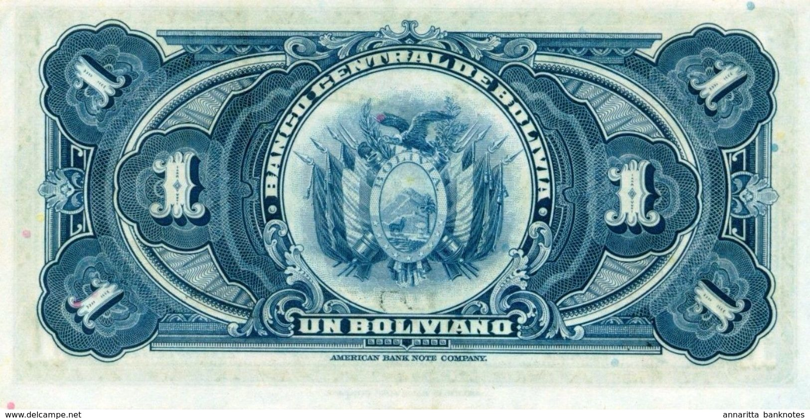 BOLIVIA 1 BOLIVIANO 1928 P-118a XF SERIES S5 [BO118a] - Bolivia