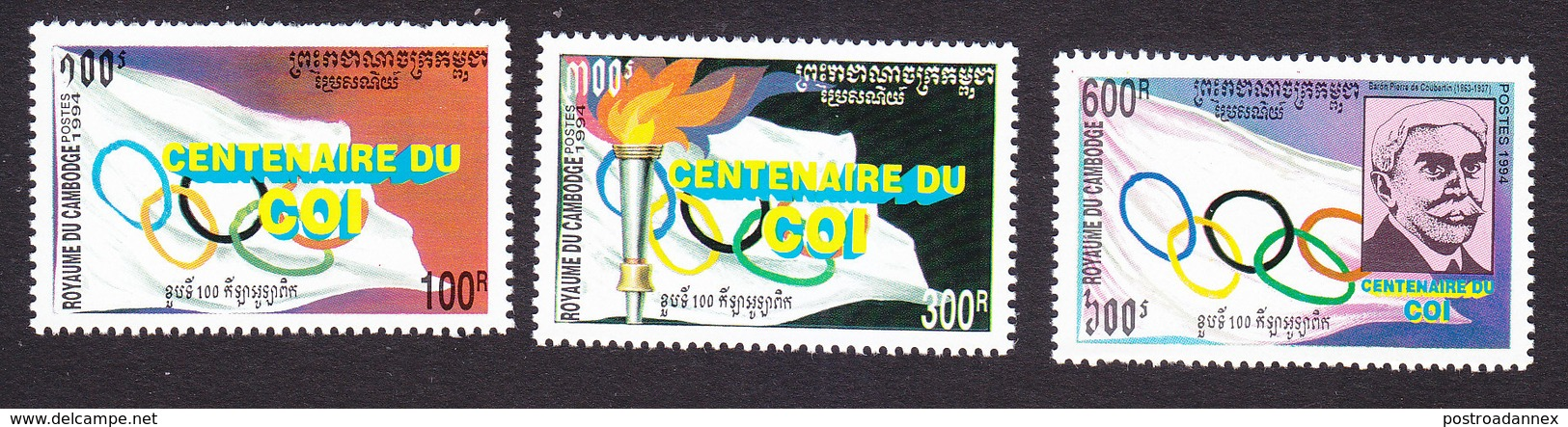 Cambodia, Scott #1356-1358, Mint Hinged, Olympic Committee Centenary, Issued 1994 - Cambodja