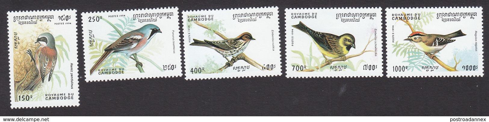 Cambodia, Scott #1397-1401, Mint Hinged, Birds, Issued 1994 - Cambodia