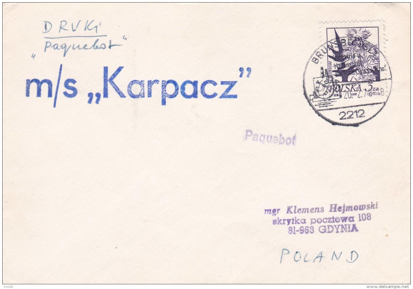Ships: M/S Karpacz Posted Brunsbüttel 1978   (DD4-28) - Bateaux