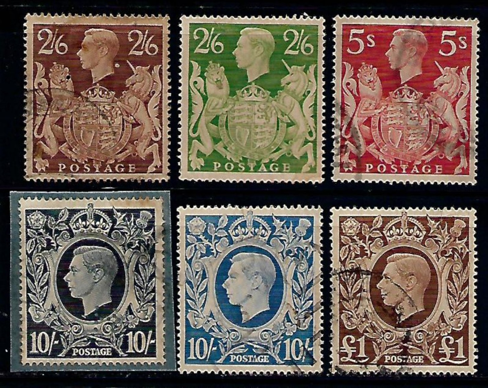 Great Britain GB George KGVI Value Used Stamps # AR:153 - 1902-1951 (Kings)