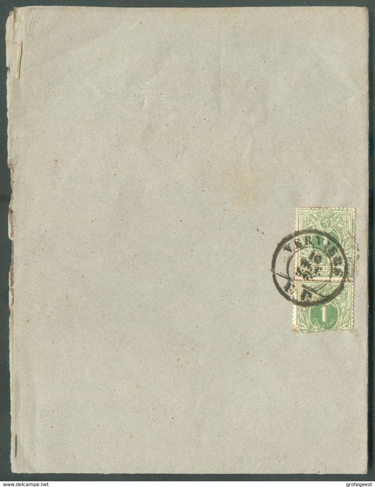 N°26(paire - 1 Timbre Déf.) Obl. Des Imprimés VERVIERS/PP 10 Oct. /2.S. Sur Feuille  - 12114 - 1869-1888 Lying Lion