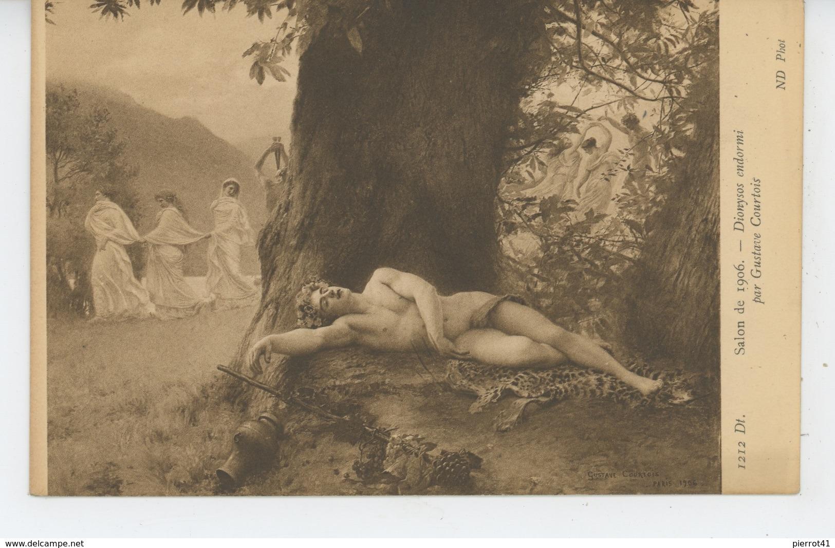 """Nus - FEMMES - FRAU - LADY - TABLEAUX - SALON 1906 - """"Dionysos Endormi """" - Par GUSTAVE COURTOIS - Schilderijen"""