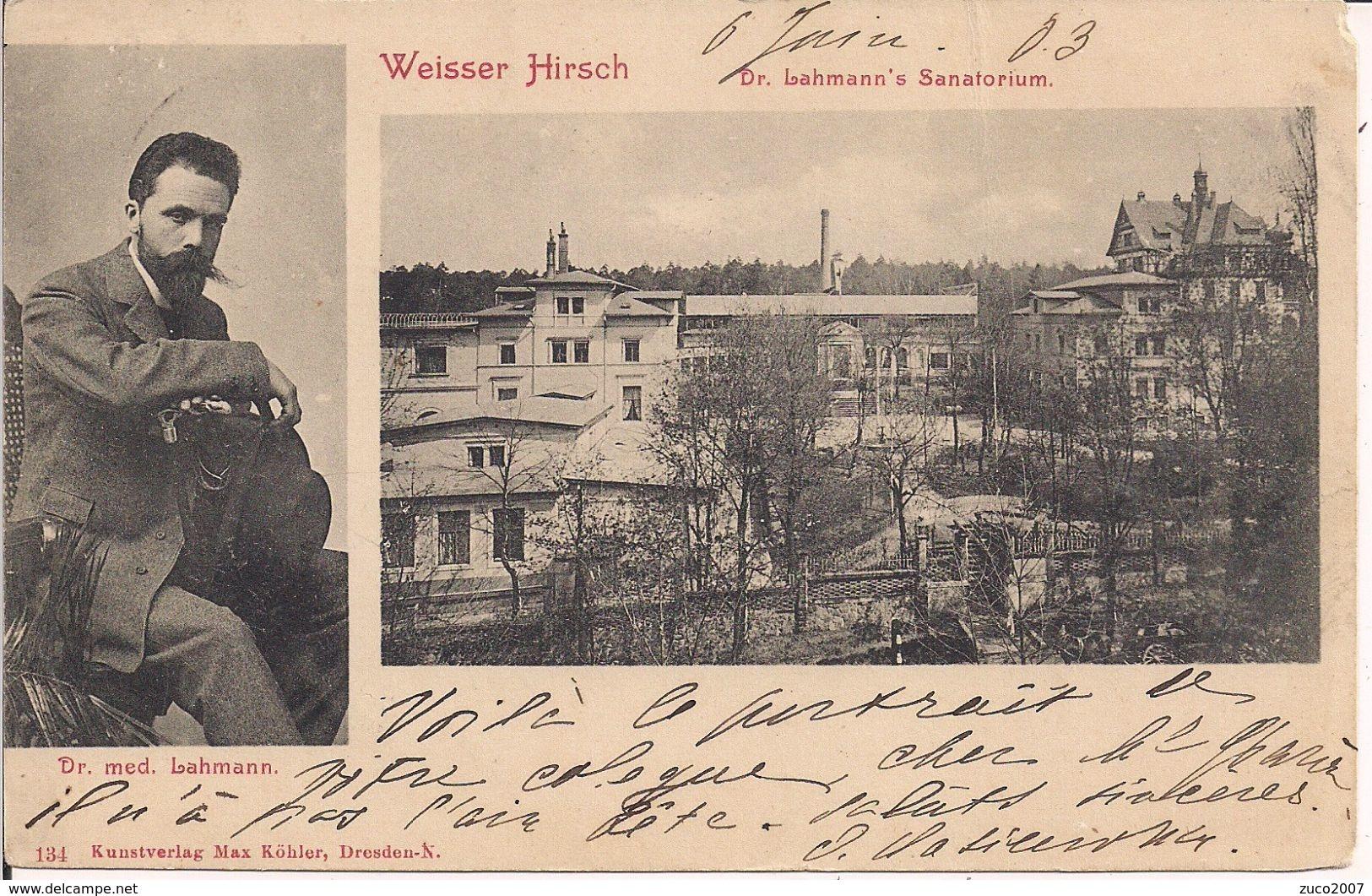 DRESDEN-WEISSER HIRSCH-DR.LAHMANN'S SANATORIUM-TIMBRO POSTE DRESDEN,1903-FIRENZE- NOTA STORICA - Dresden