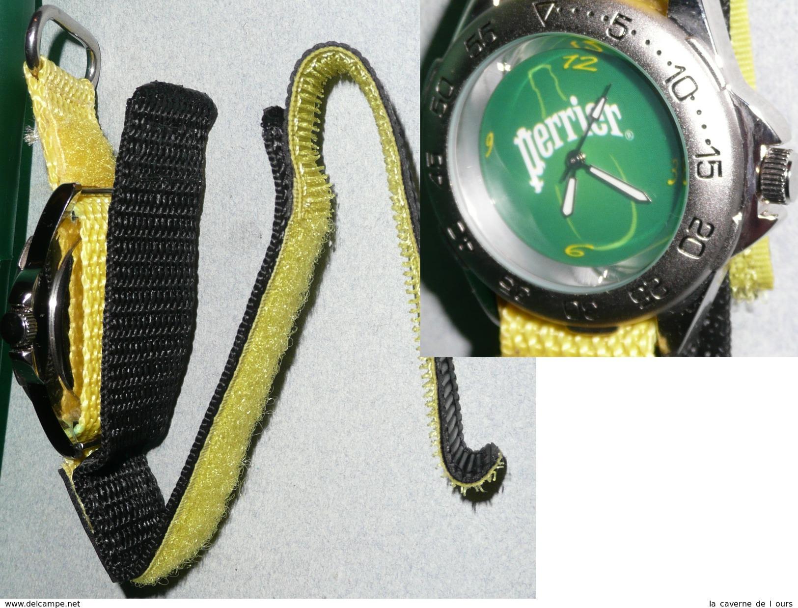 Rare Montre à Quartz PERRIER Bracelet Velcro, état Neuf Avec Sa Boite - Montres Publicitaires