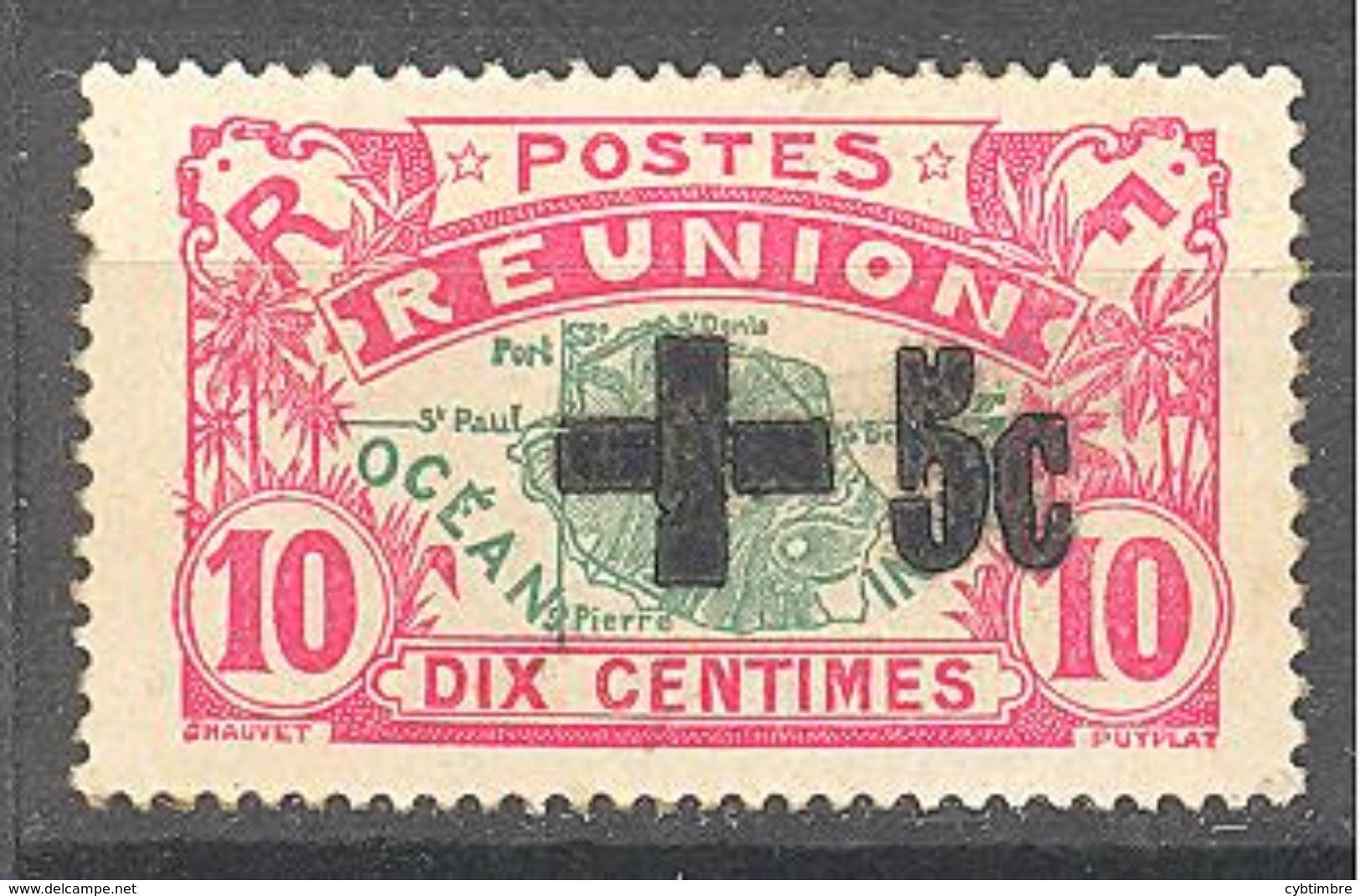 """Reunion:  Yvert N° 80*; Signé """"Calves"""" Cote 200€ - Réunion (1852-1975)"""
