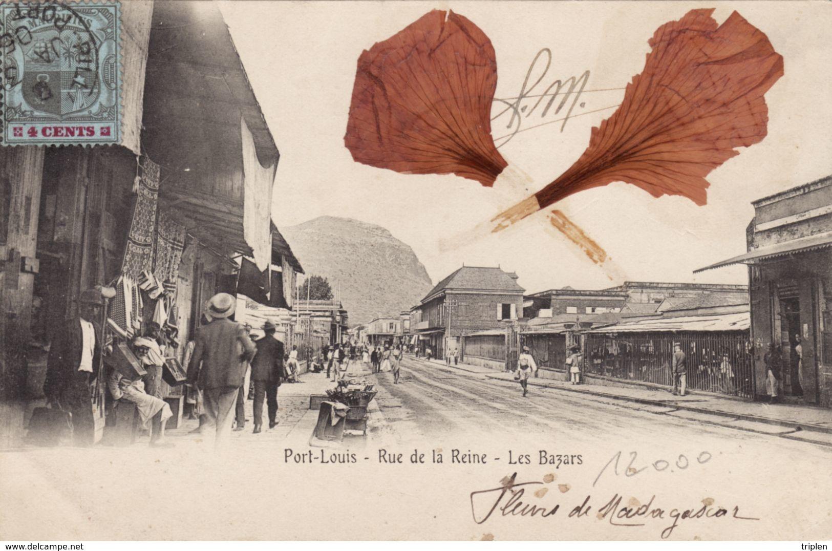 Port-Louis - Rue De La Reine - Les Bazars - Fleur Collée - Maurice