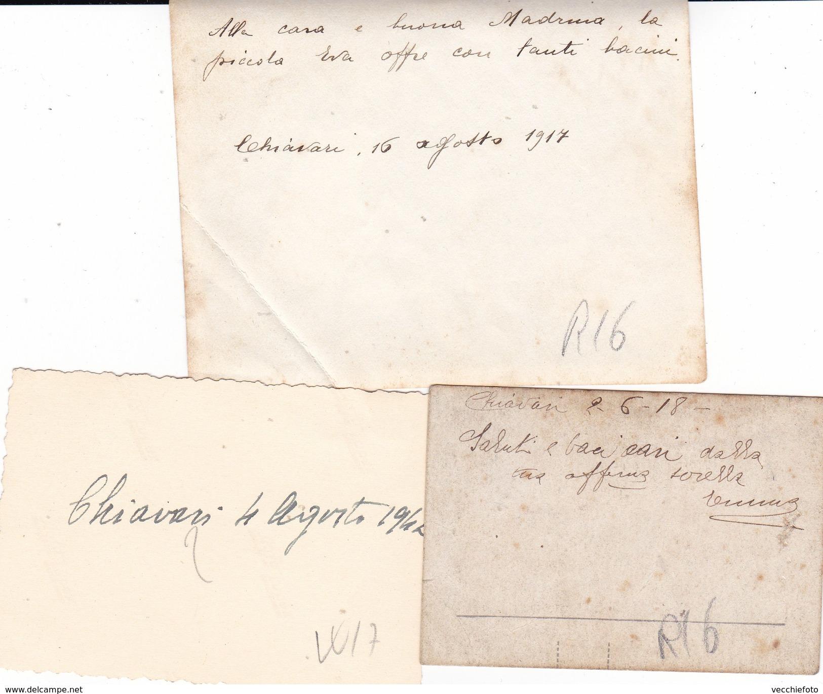 CHIAVARI - GENOVA - LOTTO DI 3 FOTO DEL 1918 E 1942  CON DIDASCALIA - Lieux