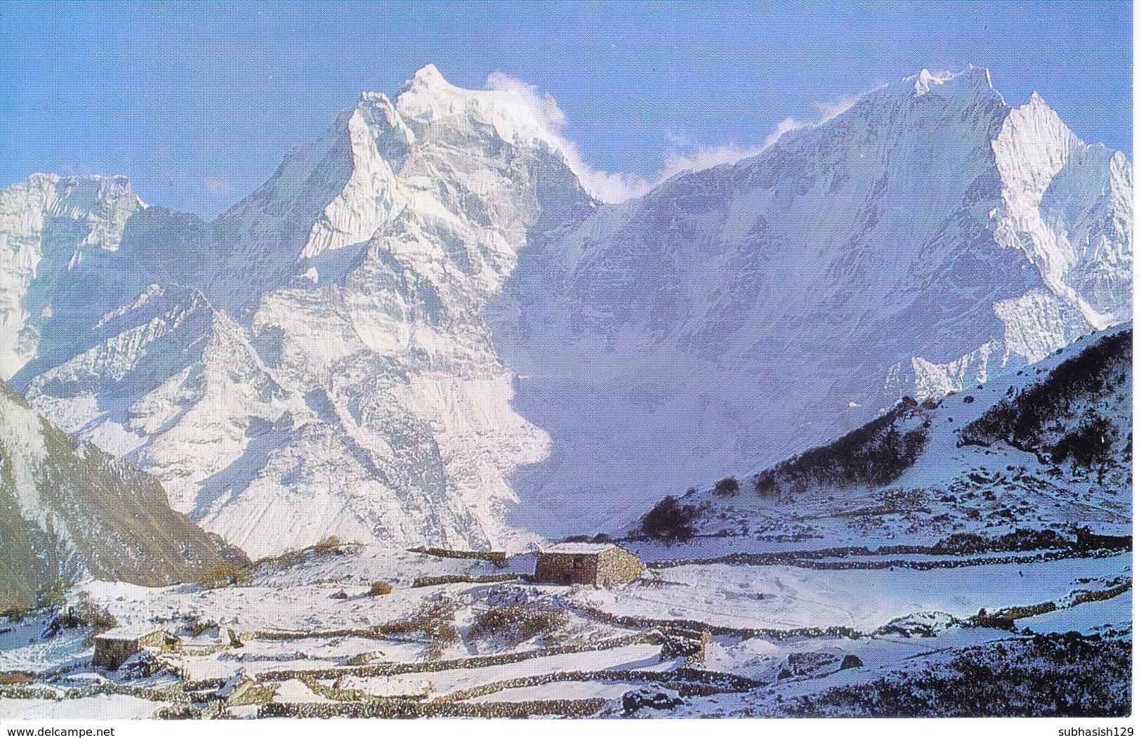 NEPAL - COLOUR PICTURE POST CARD - PEAKS OF HIMALAYA - TAMSELKU, KANGTEGA - TRAVEL / TOURISM / MOUNTAINEERING - Nepal