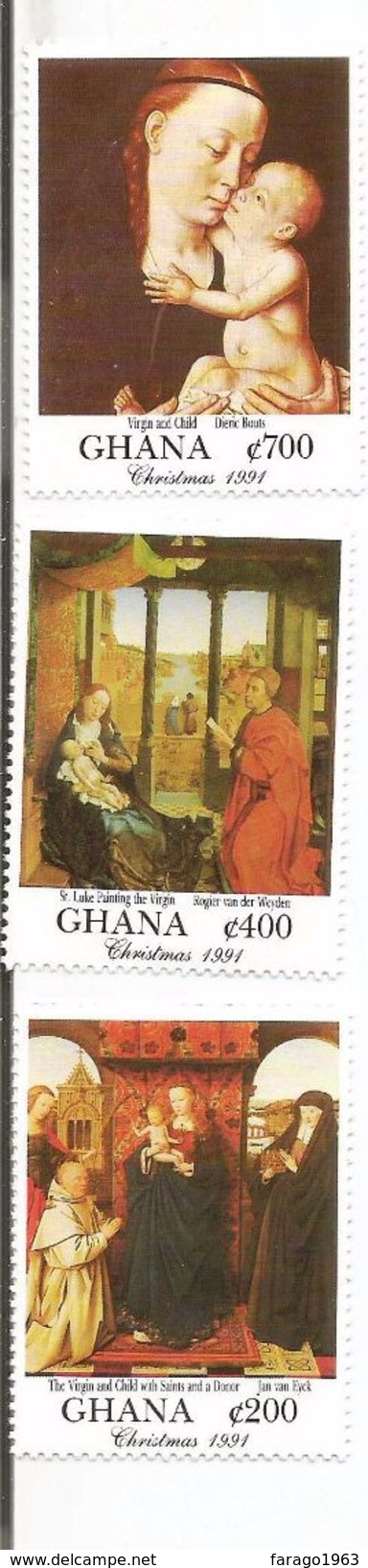 1991 Ghana Art Christmas Paintings Complete Set Of 8  MNH - Ghana (1957-...)