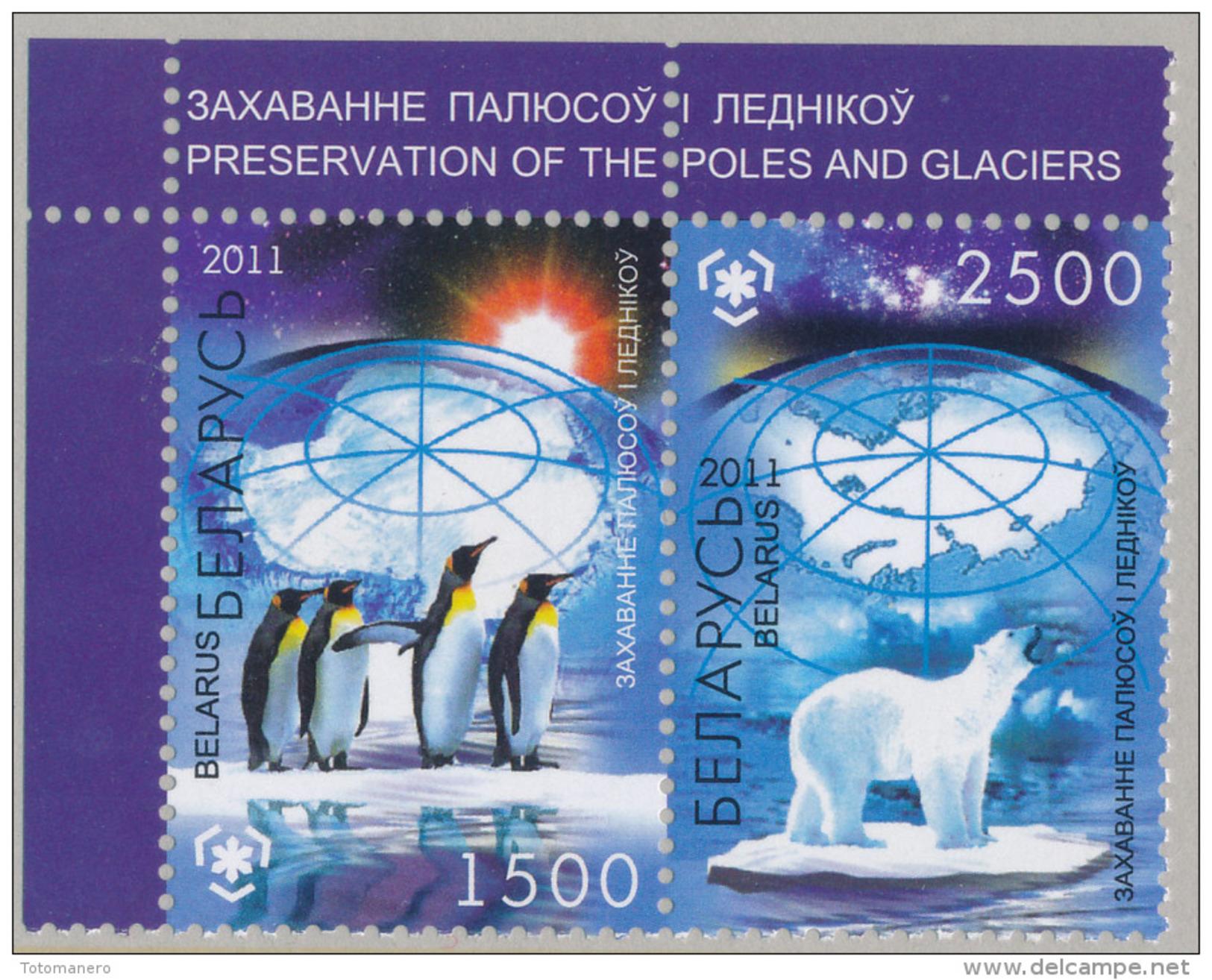 BELARUS/Weißrussland, IPY International Polar Year - Preserve The Polar Regions And Glaciers Pair** - Preservare Le Regioni Polari E Ghiacciai