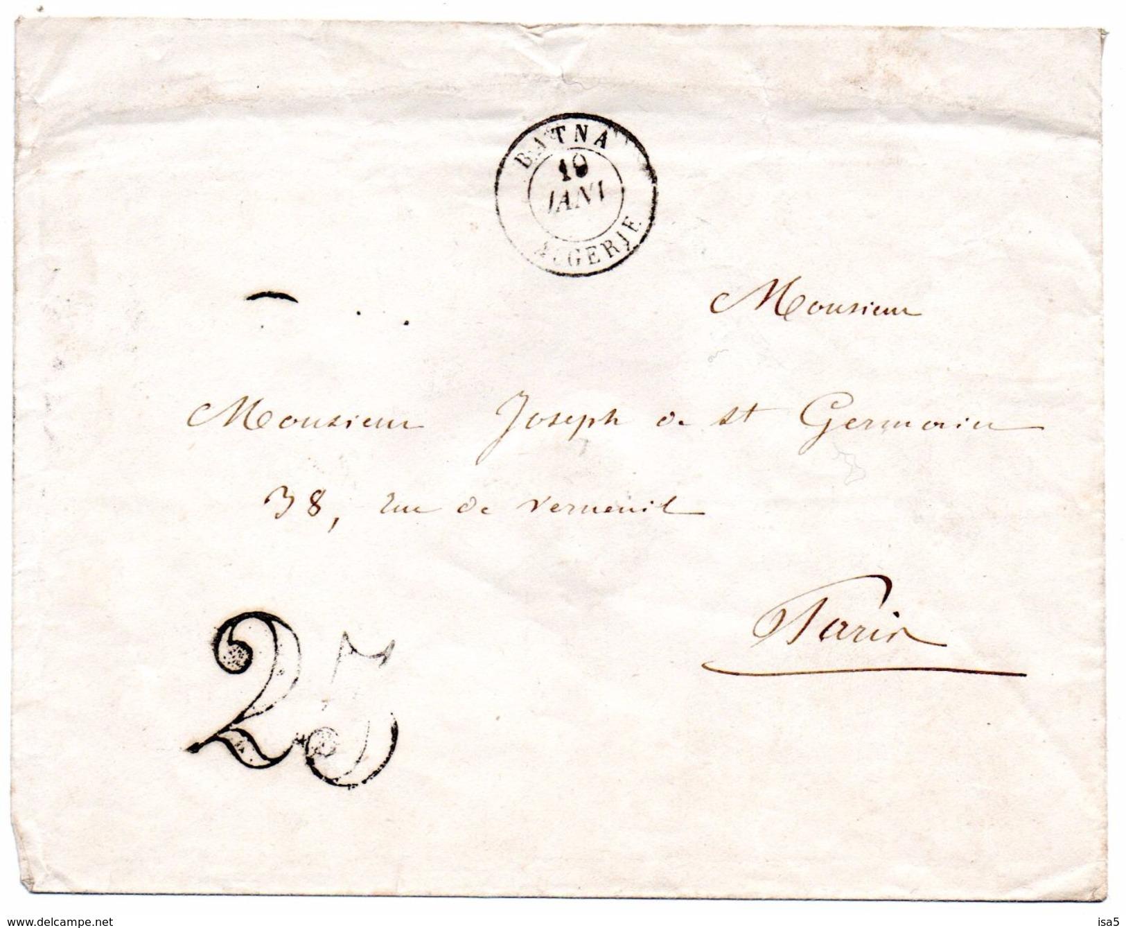 Lettre De BETNA - Algérie De 1851 Taxée - France