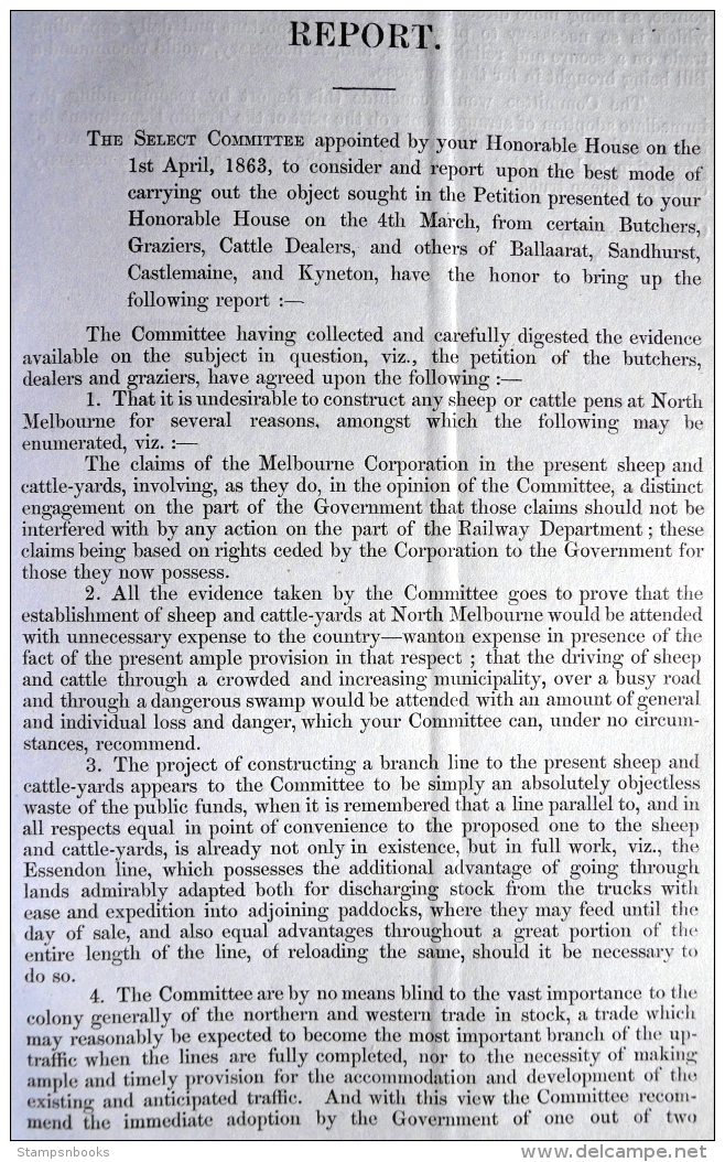 1863 Australia Victoria, Cattle Traffic, Victorian Railways Train Report (19 Pages) - Historical Documents