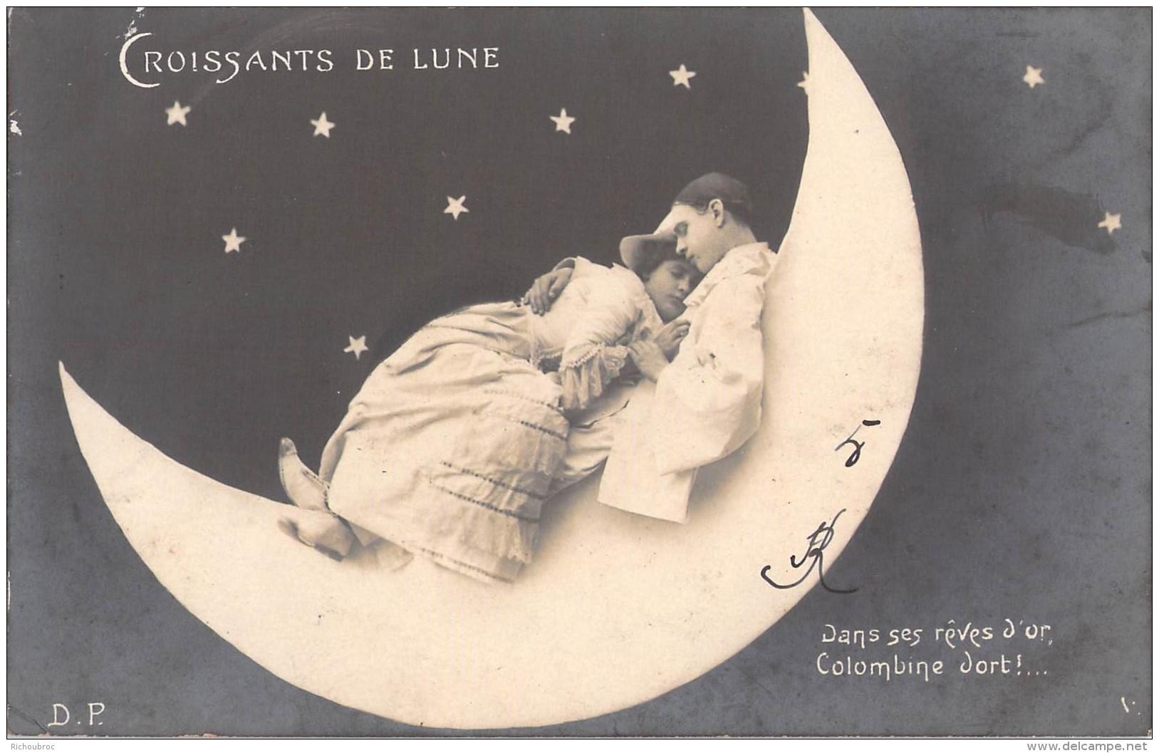 CROISSANTS DE LUNE ... DANS SES REVES D OR COLOMBINE DORT / COUPLE / D.P - Fantaisies