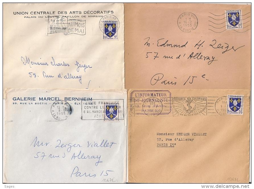 4 Mecaniques PARIS Sur BLASON 5F. 1955 - Marcophilie (Lettres)