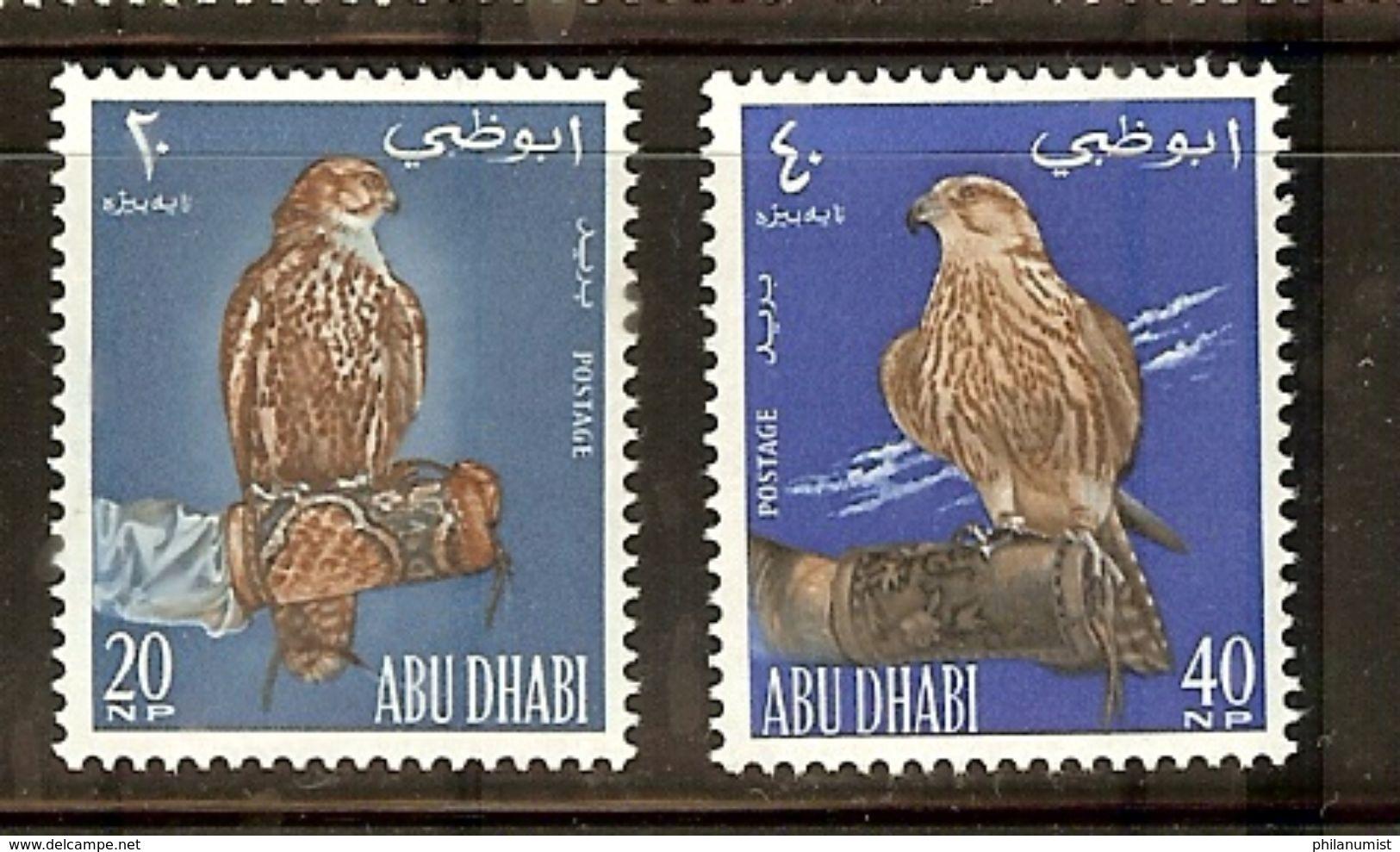 ABU DHABI BIRDS FALCON 2v 1965 MNH !! - Aigles & Rapaces Diurnes