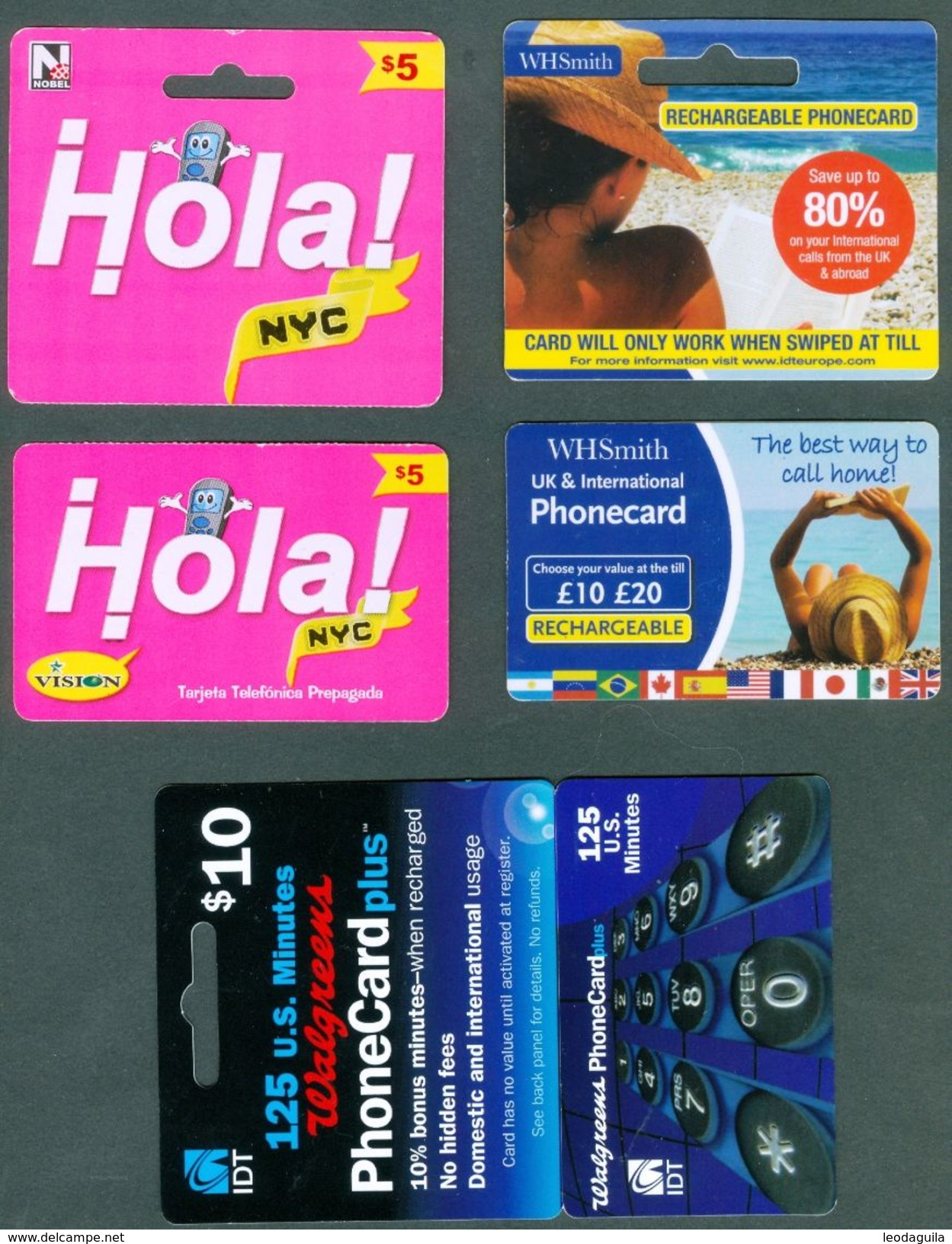 UK Ans USA -  3  CALLING CARDS - USED - Phonecards