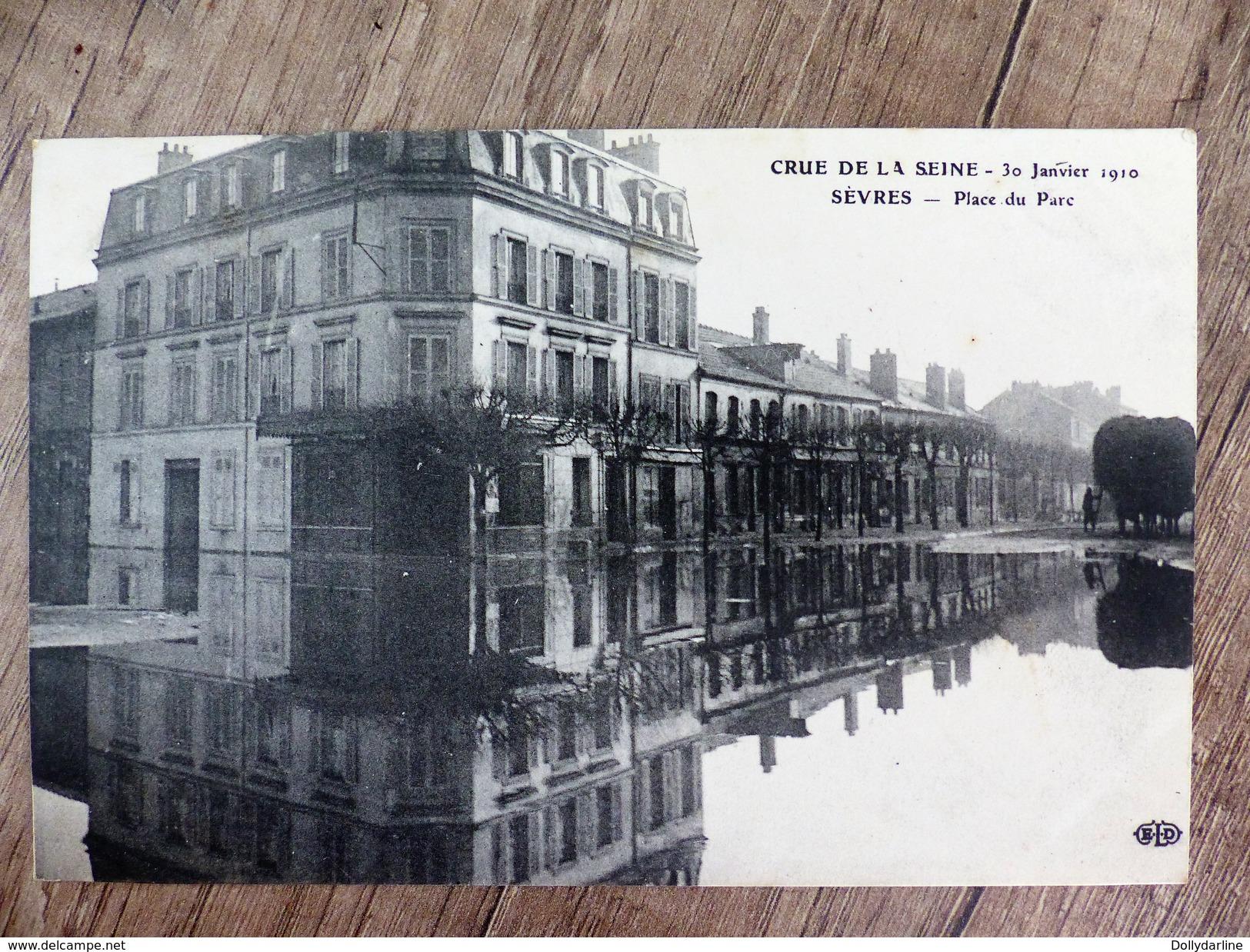 CPA 92 CRUE DE LA SEINE 30 Janvier 1910 SEVRES Place Du Parc Hauts De Seine - Sevres