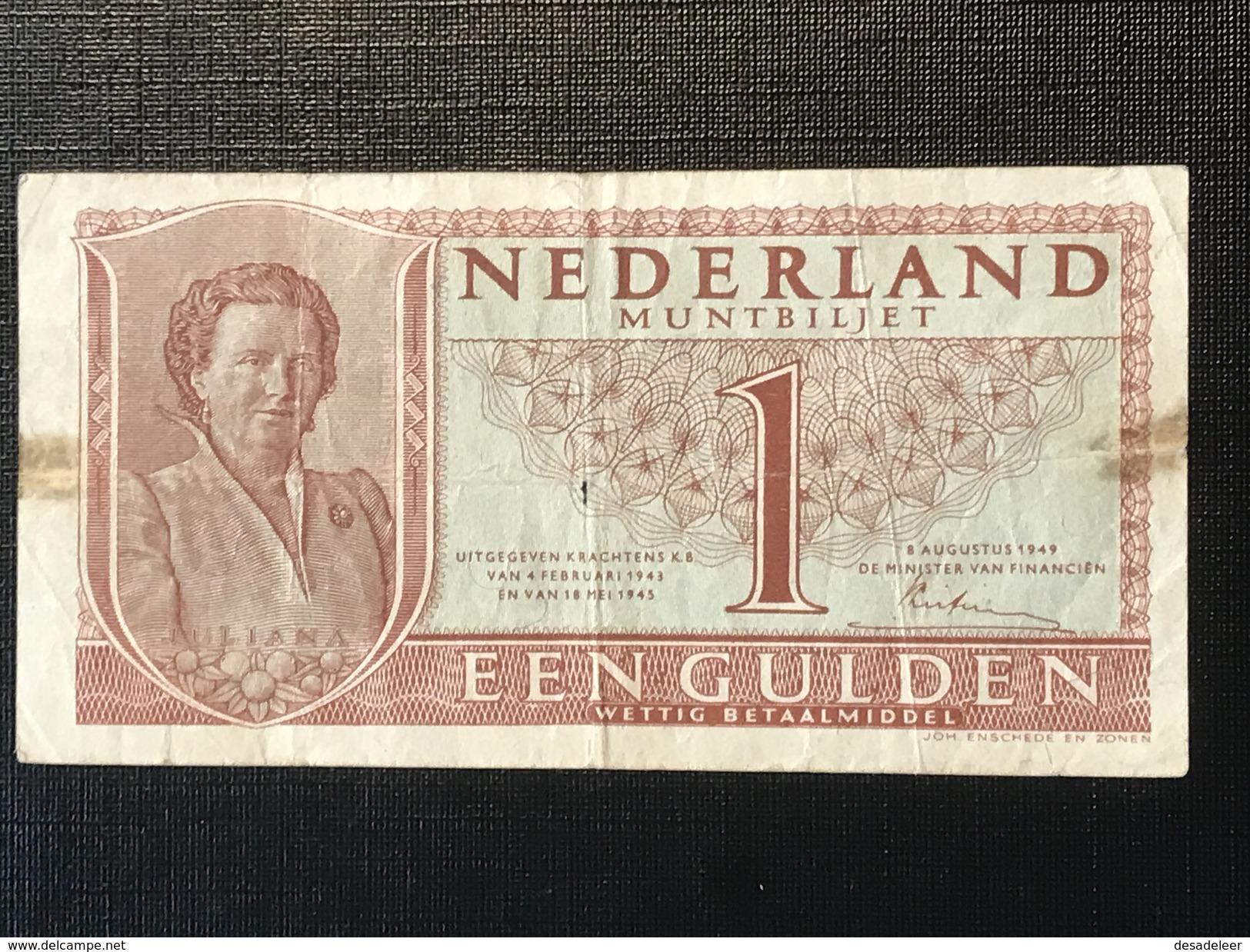 NETHERLANDS 1 GULDEN 1949 - [2] 1815-… : Kingdom Of The Netherlands