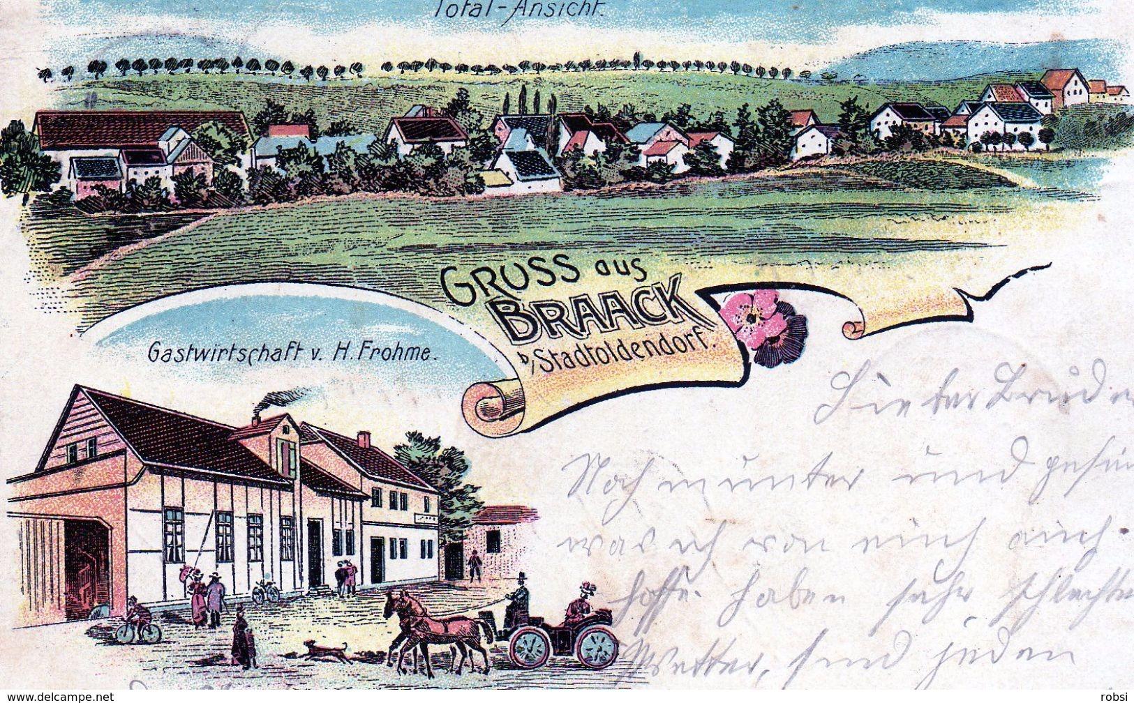 Nieder-Saxen, Braack B/ Stadtoldendorf Gruss Aus Gasthof V H Frohme,, Litho Tres Belle - Allemagne