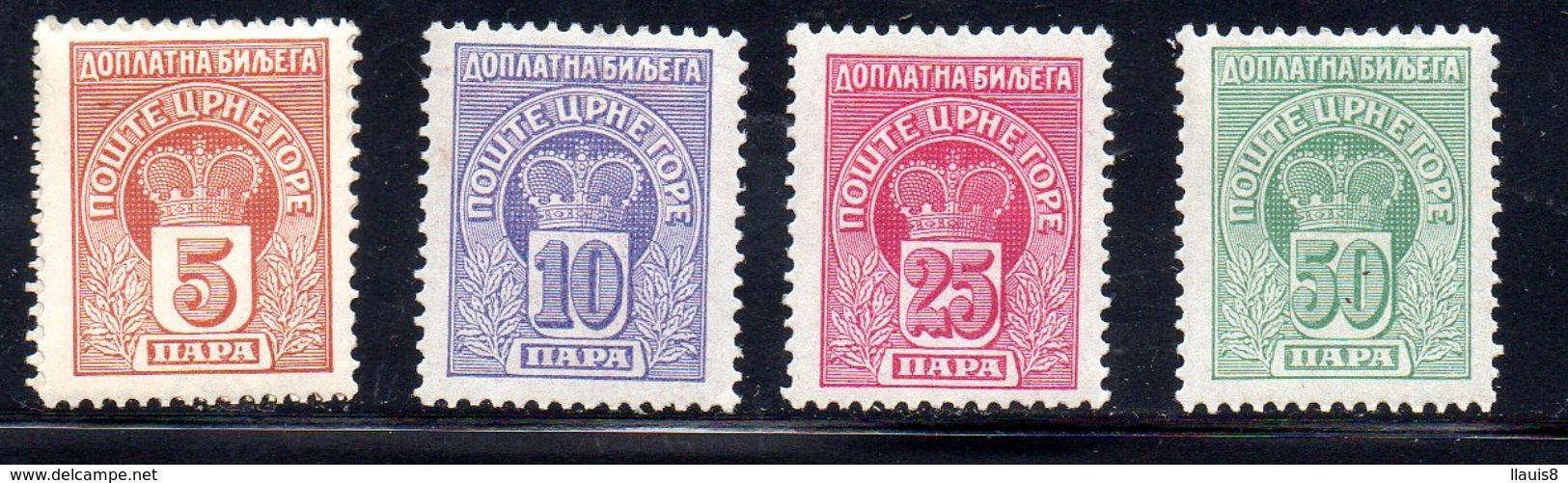 MONTENEGRO. AÑO 1907. TAXE Yv 20/23 (MH) - Montenegro