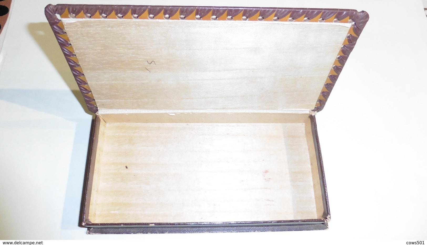 Boîte à Cigares  Bois Avec  Dessus  En Cuir - Contenitore Di Sigari
