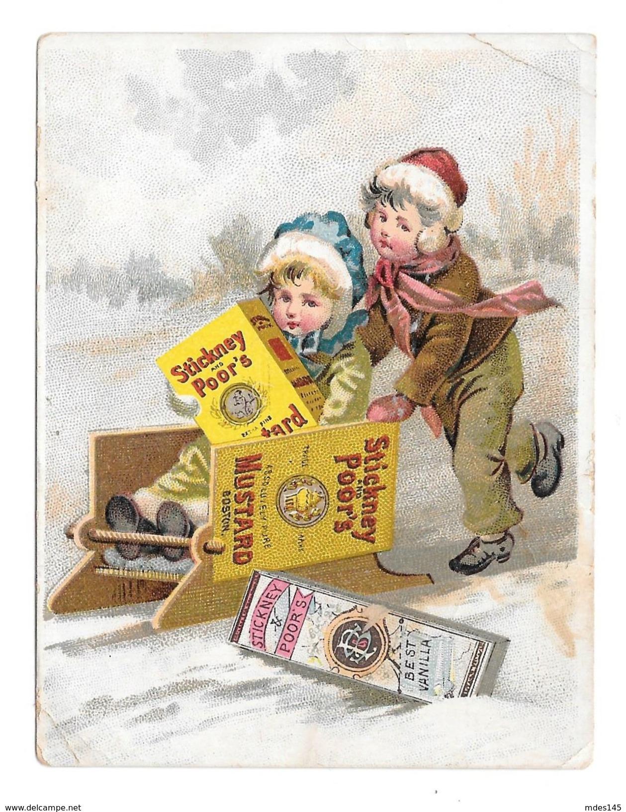Victorian Trade Card Stickney & Poor's Mustard Spices Boston MA Children Boy Girl Sledding - Trade Cards