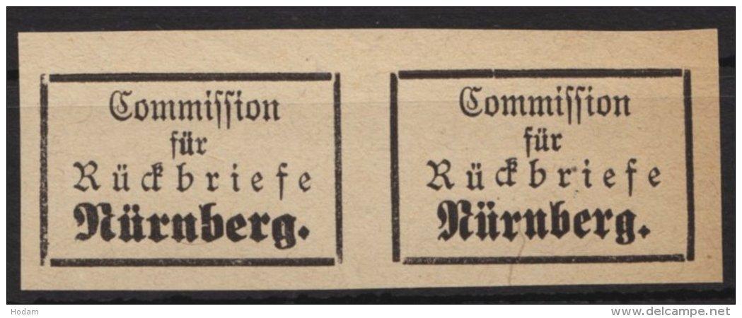 "Retourmarken:Nürnberg: ""Rückbriefe"", 2 Verschiedene Typen In Waagerechten Paaren, (*) - Bayern"