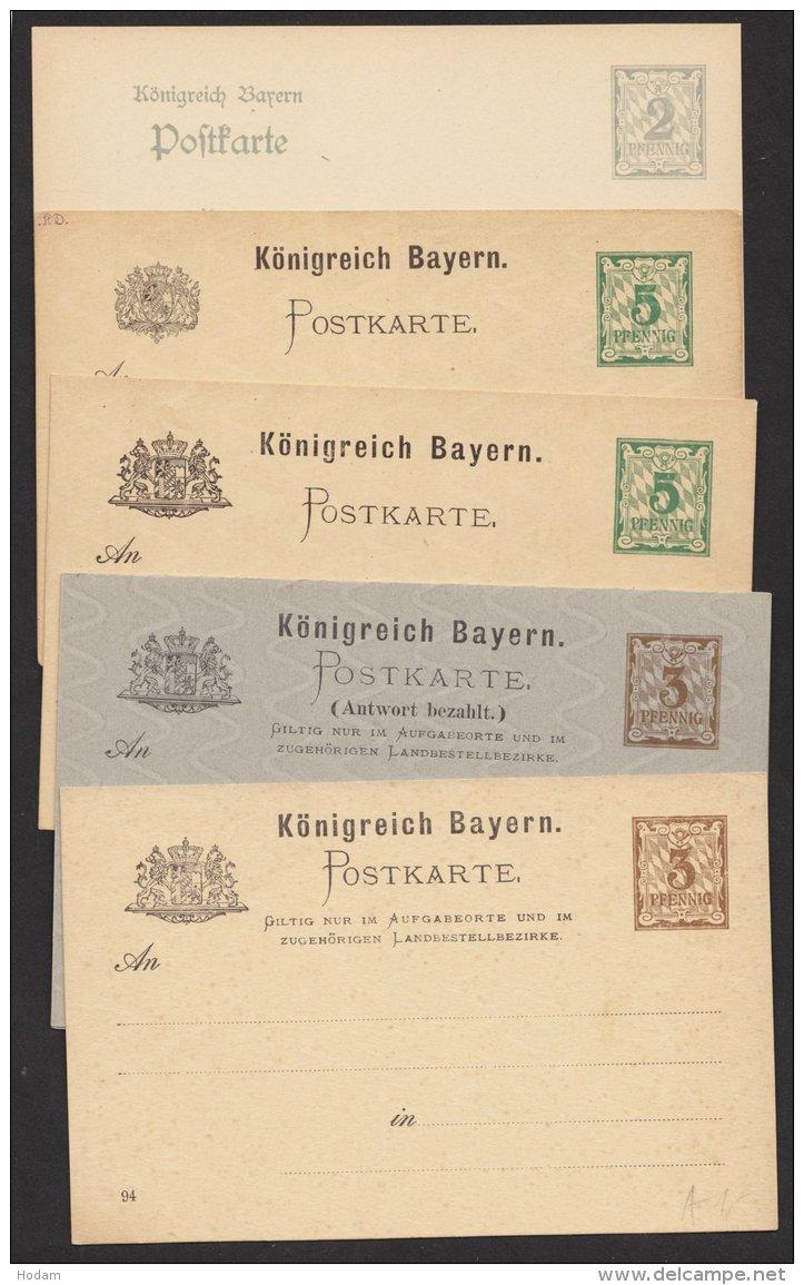 """5 Verschiedene Ganzsachen """"Rauten"""", Dabei Doppelkarte, * - Bayern"""
