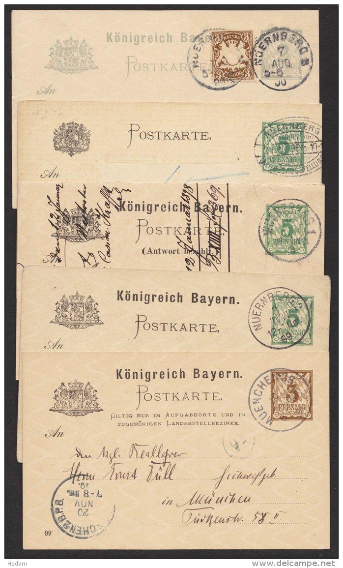 """5 Verschiedene Ganzsachen """"Rauten"""", O - Bayern"""
