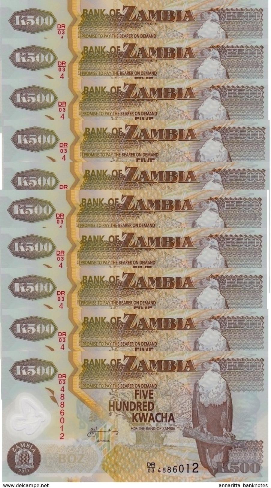 ZAMBIA 500 KWACHA 2011 P-43h UNC 10 PCS  [ZM145h] - Zambie