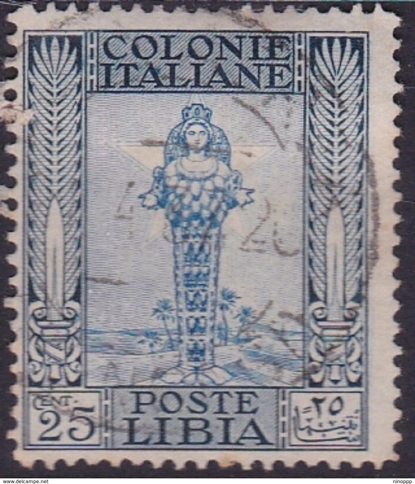 Italy-Colonies And Territories-Libya S 49 1924-29 ,Pictorials No Watermark,25c Diana Of Ephesus,used - Libya