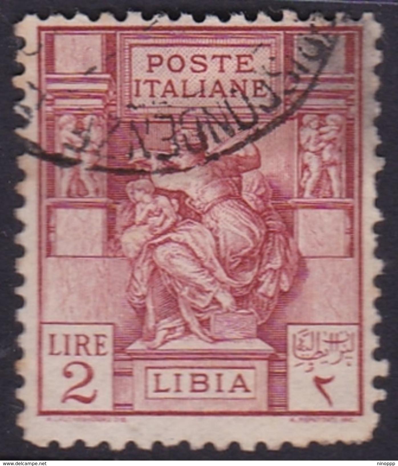 Italy-Colonies And Territories-Libya S 57 1926-29 ,Libyan Sibyl,perf 11,2 Lire Carmine,used - Libya