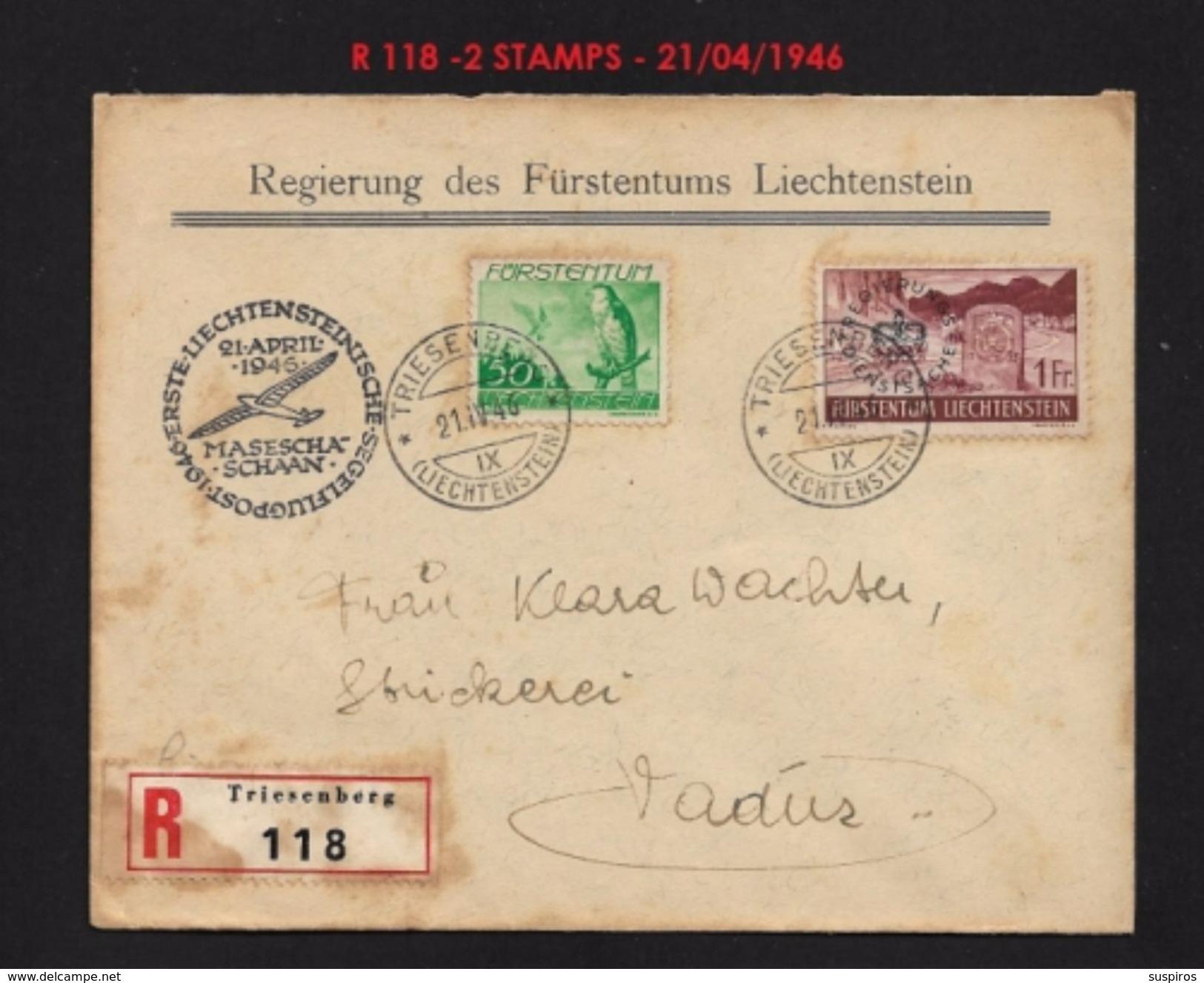 LIECHTENSTEIN 1937-1938 - TRAVELLED LETTER 1946 R 118 RARE !!!!!! - Used Stamps