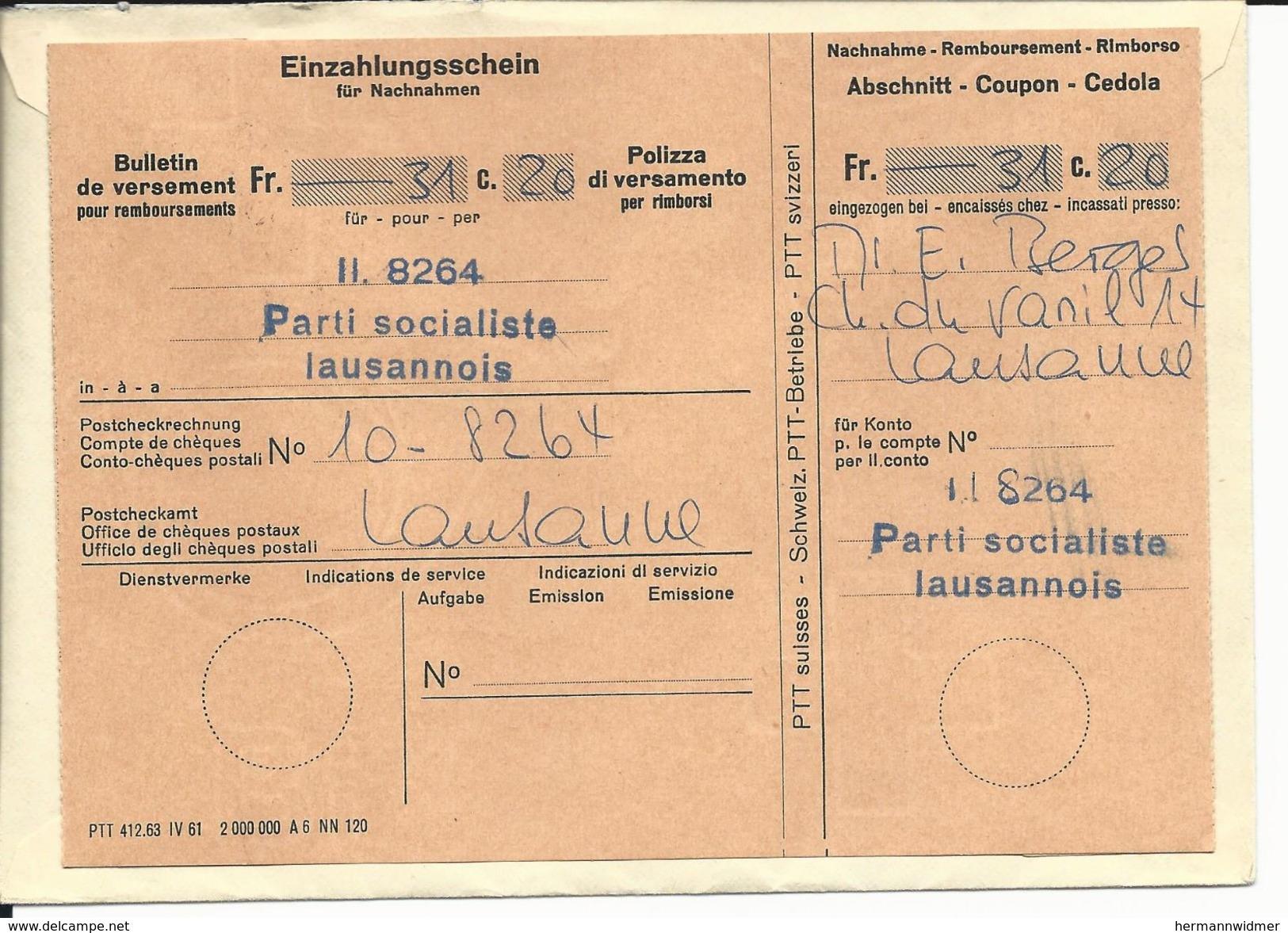 Contre Remboursement, Obl Lausanne 7.2.68, Refusé, Retour, Bulletin De Versement Au Dos - Suisse