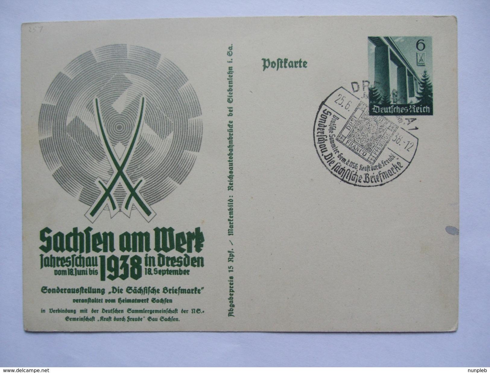 GERMANY 1938 POSTKARTE SACHSEN AM WERK JAHRESSCHAU IN DRESDEN MIT DRESDEN SONDERSTEMPEL - Deutschland