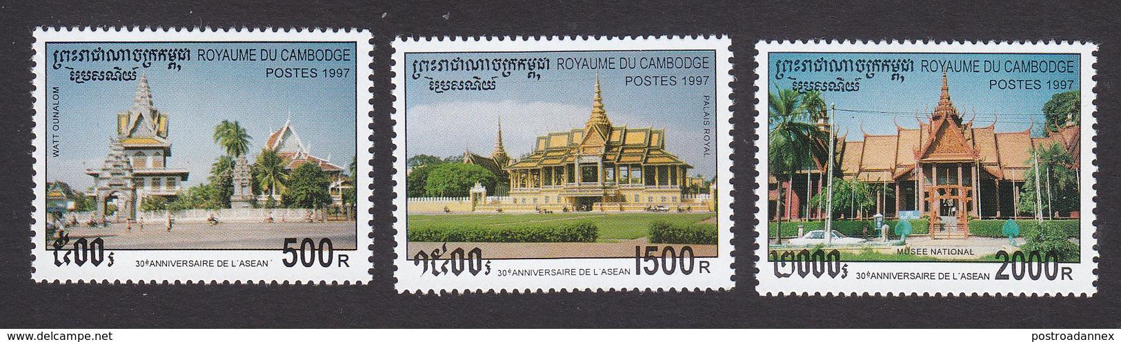 Cambodia, Scott #1645-1647, Mint Hinged, ASEAN, 30th Anniversary, Issued 1997 - Cambodia