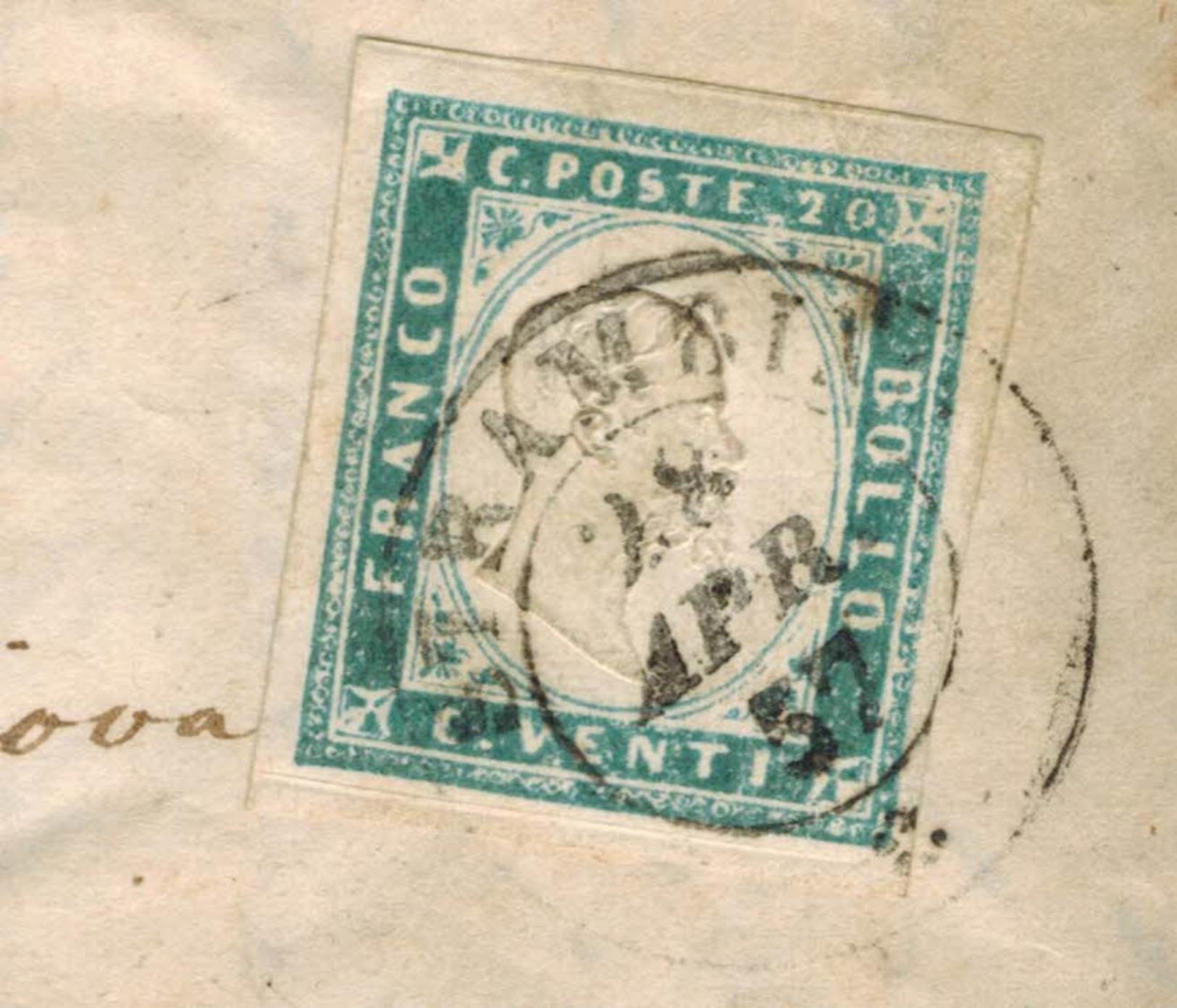 Lettera Da Strambino A Quassolo Ivrea 1857 Con 20 Centesimi Cobalto Sardegna IV Emissione - Sardegna