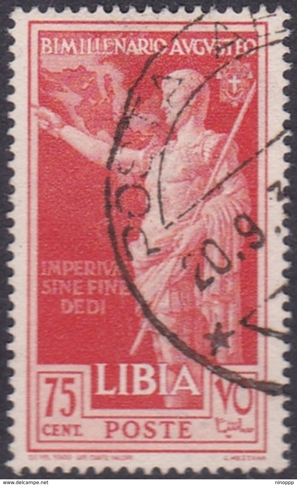 Italy-Colonies And Territories-Libya S 156 1938 Augustus Birth Bimillenary,75c Red,used - Libya