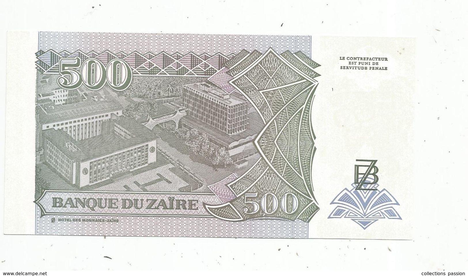 Billet , ZAÏRE , Cinq Cents ,500 Nouveaux Zaires , 15.2.1994 , Banque Du ZAÏRE , 2 Scans - Zaïre
