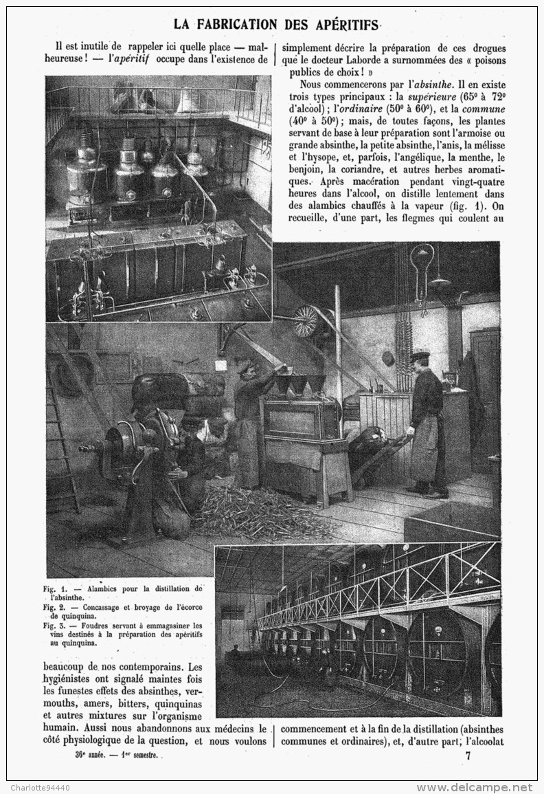 LA FABRICATION Des APERITIFS  ( ABSINTHES - VERMOUTHS - AMERS - BITTERS )  1908 - Licor Espirituoso