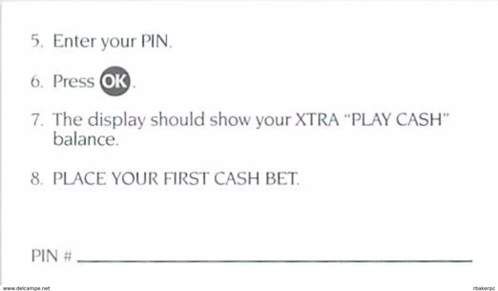 Generic Station Casinos - Las Vegas, NV - Xtra Playcash Instructions Card (No Logo) - Casino Cards